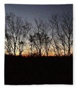 October Sunset Trees Silhouettes Fleece Blanket