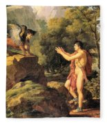 Oedipus And The Sphinx Fleece Blanket