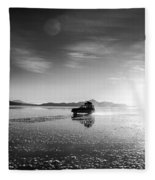Off Road Uyuni Salt Flat Tour Black And White Fleece Blanket