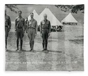 Officers At Camp Newayo, New York State Fleece Blanket