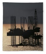 Offshore Drill Rig Platform Fleece Blanket