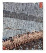 Ohashi Sudden Shower At Atake Fleece Blanket