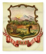 Ohio Coat Of Arms - 1876 Fleece Blanket