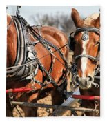 Ohio Draft Horses Fleece Blanket