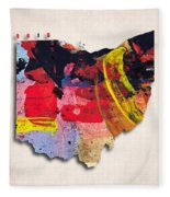 Ohio Map Art - Painted Map Of Ohio Fleece Blanket