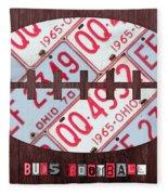 Ohio State Buckeyes Football Recycled License Plate Art Fleece Blanket