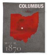 Ohio State University Buckeyes Columbus Ohio College Town State Map Poster Series No 005 Fleece Blanket