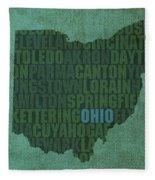 Ohio State Word Art On Canvas Fleece Blanket