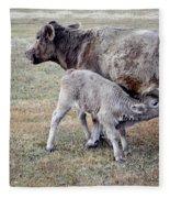 Oil Paint Look Cow And Calf Portrait Usa Fleece Blanket