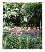 Oil Painting - A Number Of Flamingos Surrounded By Greenery In Their Enclosure  Fleece Blanket