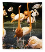 Oil Painting - A Number Of Flamingos With Their Heads Held High Inside The Jurong Bird Park Fleece Blanket