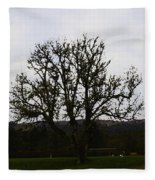 Oil Painting - An Old Tree In The Middle Of A Garden And Playground Fleece Blanket