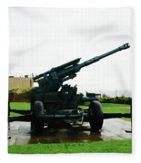 Oil Painting - Anti Aircraft Gun At Dover Castle Fleece Blanket