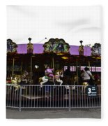 Oil Painting - Children And Adults At The Merry Go Round Inside The Blair Drumm Fleece Blanket