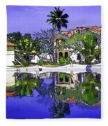 Oil Painting - Cottages And Lagoon Water Fleece Blanket