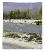 Oil Painting - Front Part Of School Bus In A Mountain Stream On The Outskirts Of Srinagar Fleece Blanket