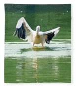 Oil Painting - Pelican Flapping Its Wings Fleece Blanket