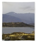Oil Painting - Rugged Shoreline And Waters Of A Loch In The Scottish Highlands Fleece Blanket