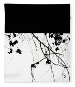 Oil Painting - Small Plant Branches Falling Over A Ledge - Horizontal Fleece Blanket