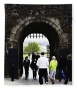 Oil Painting - Staff And Tourists At The Entrance Of Stirling Castle Fleece Blanket