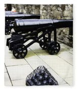 Oil Painting - Tourists And Cannons With Ammunition At The Wall Of Stirling Castle Fleece Blanket