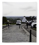 Oil Painting - Van Approaching The Entrance Of The Stirling Castle In Scotland Fleece Blanket
