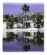 Oil Painting - View Of The Cottages And Palm Trees Fleece Blanket