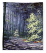 Oil Painting - Forest Light Fleece Blanket