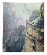 Oil Painting - Majestic Canyon Fleece Blanket