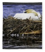Oil Painting Nesting Swan Michigan Fleece Blanket