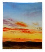 Oil Painting - When The Clouds Turn Red Fleece Blanket