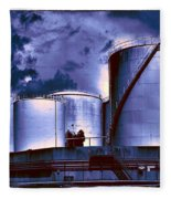 Oil Storage Tanks 2 Fleece Blanket