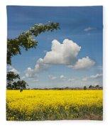 Oilseed Rape Field Against Blue Sky Fleece Blanket