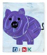 Oink The Pig License Plate Art Fleece Blanket