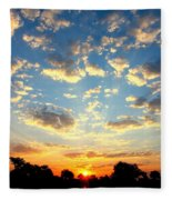 Okavango Delta Sunset Fleece Blanket