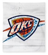 Okc Thunder Basketball Team Retro Logo Vintage Recycled Oklahoma License Plate Art Fleece Blanket