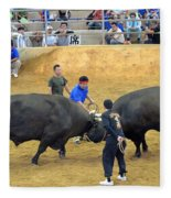 Okinawan Culture Bull Versus Bull Okinawan Bullfighting Fleece Blanket