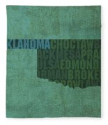 Oklahoma Word Art State Map On Canvas Fleece Blanket by Design Turnpike