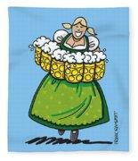 Oktoberfest Beer Waitress Dirndl Fleece Blanket