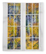 Old 16 Pane White Window Colorful Fall Aspen View  Fleece Blanket