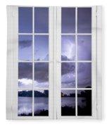 Old 16 Pane White Window Stormy Lightning Lake View Fleece Blanket