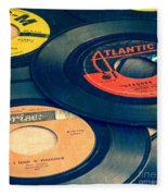 Old 45 Records Square Format Fleece Blanket by Edward Fielding