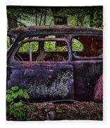 Old Abandoned Car In The Woods Fleece Blanket