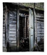 Old Abandoned Well House With Door Ajar Fleece Blanket