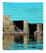 Old Aqua Boat Shed With Aqua Reflections Fleece Blanket