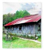 Old Barn Along Golden Road Filtered Fleece Blanket