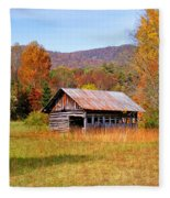 Old Barn Along Slick Fisher Road Fleece Blanket