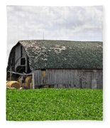 Old Barn And Round Bales Fleece Blanket