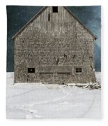Old Barn In A Snow Storm Fleece Blanket