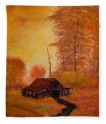 Old Barn In Autumn Fleece Blanket